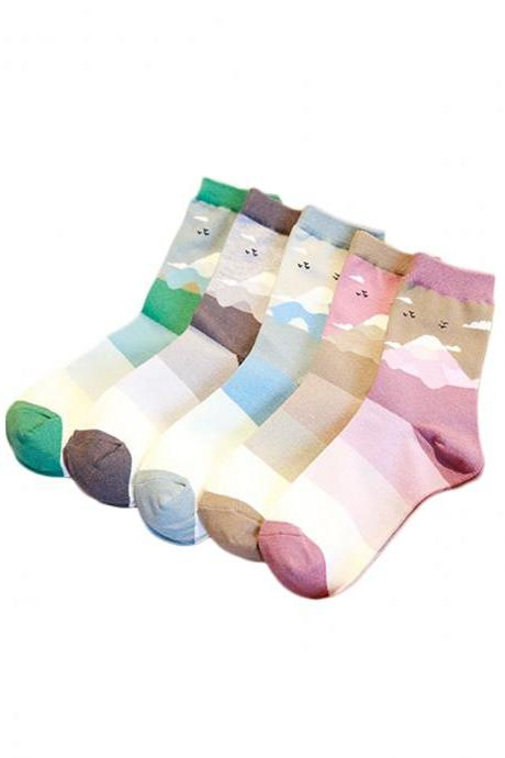 Women's 5 Pairs Christmas Graphic Print Color Patchwork Anti-Odor Socks