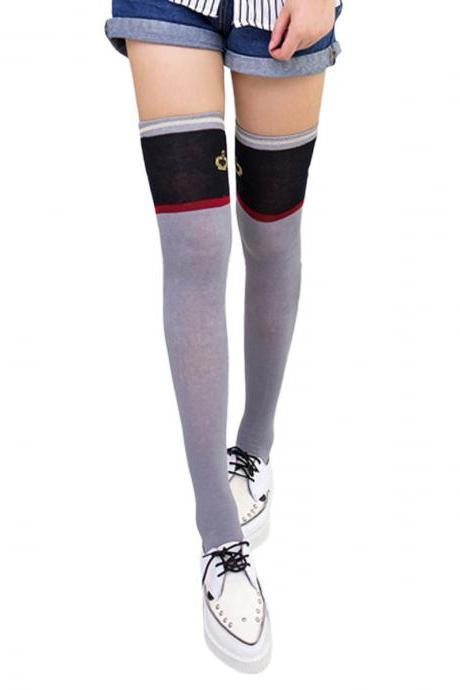 Women's Preppy Style Crown Pattern Color Patchwork Knee High Socks