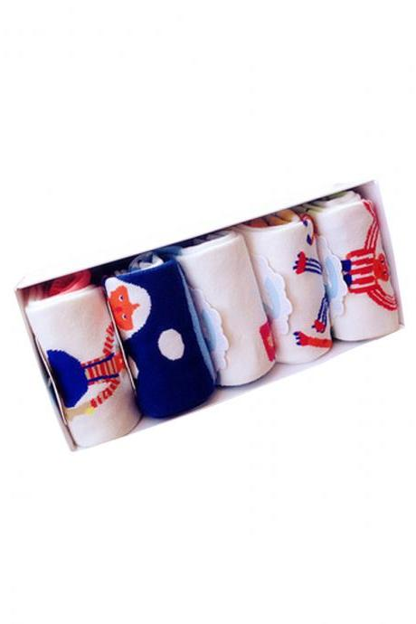 Women's 5 Pairs Gift Box Cartoon Character Print Causal Socks