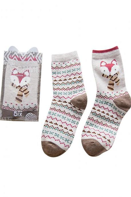 Women's 2 Pairs Cartoon Fox Stripes Anti-Odor Cotton Crew Socks