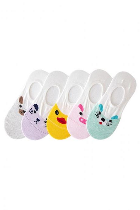 Women's 5 Pairs Rubber Ducky Print Anti-Slip Ankle Socks