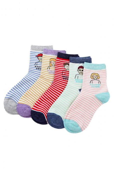 Women's 5 Pairs Stripes Cartoon Character Print Cotton Socks