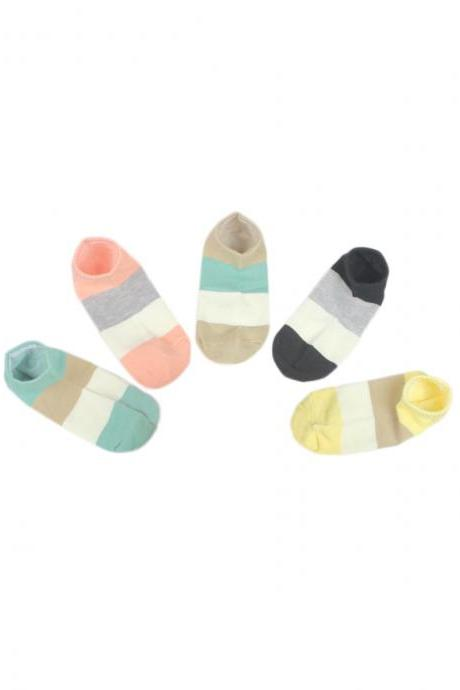 Women's 5 Pairs Gift Box Striped Breathable Ankle Socks