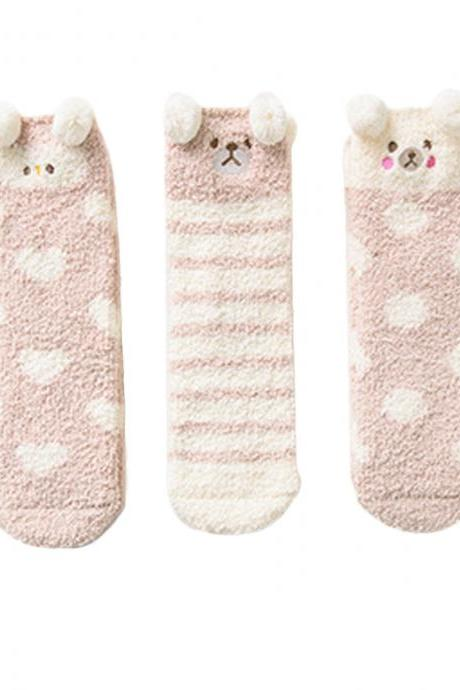 Women's 3 Pairs Cartoon Graphic Print Thicken Thermal Socks