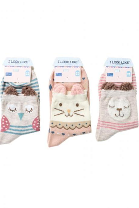Women's 3 Pairs Cartoon Graphic Print Breathable Socks