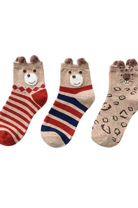Women's 3 Pairs Animals Graphic Print Anti-Odor Socks