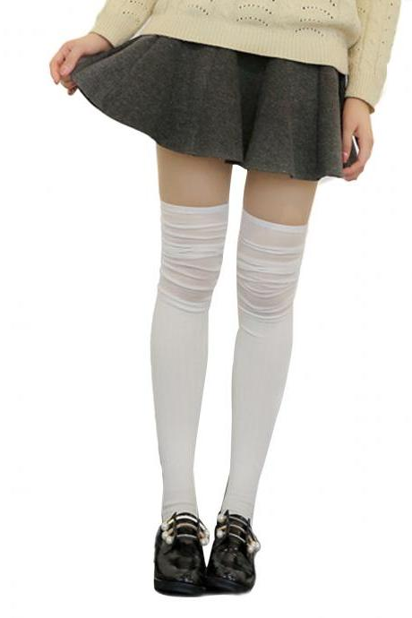 Women's Solid Stripe Patchwork Knee High Socks