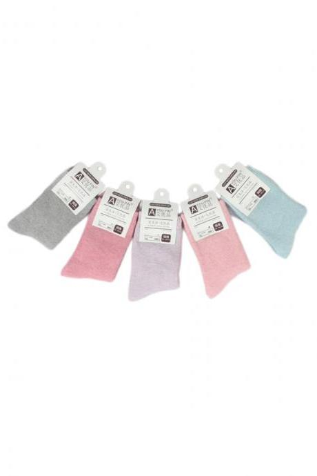 Women's Thicken 5 Pairs Gift Box Solid Color Socks