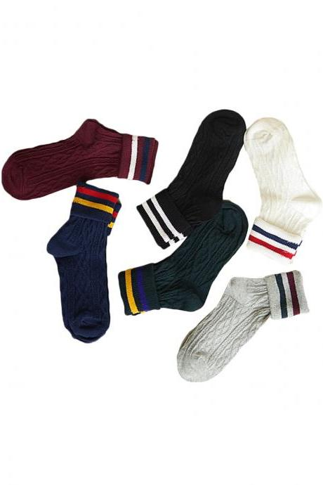 Women's 3 Pairs Vintage Style Candy Color Breathable Socks