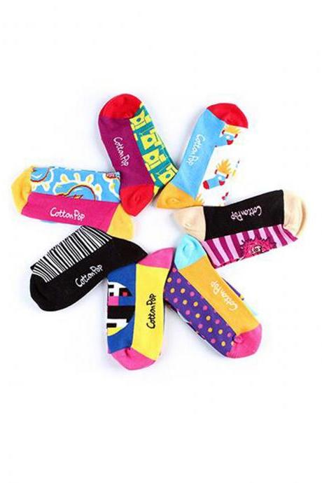 Women's 7 Pairs Carton Print Socks