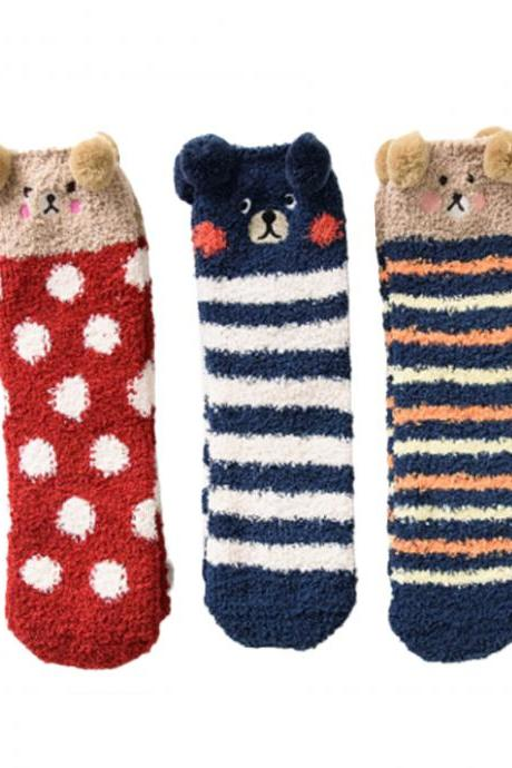 Women's 3 Pairs Christmas Bear Print Stripe Thicken Thermal Socks