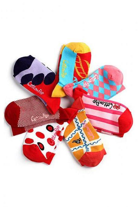 Women's 7 Pairs Geometric Print Socks