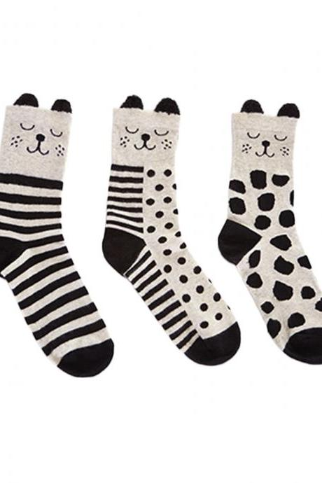 Women's 3 Pairs Black-And-White Dogs Solid Ears Causal Socks