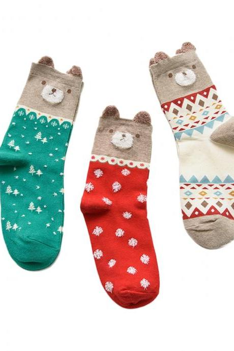 Women's 3 Pairs Solid Ears Cartoon Wish Bears Causal Socks