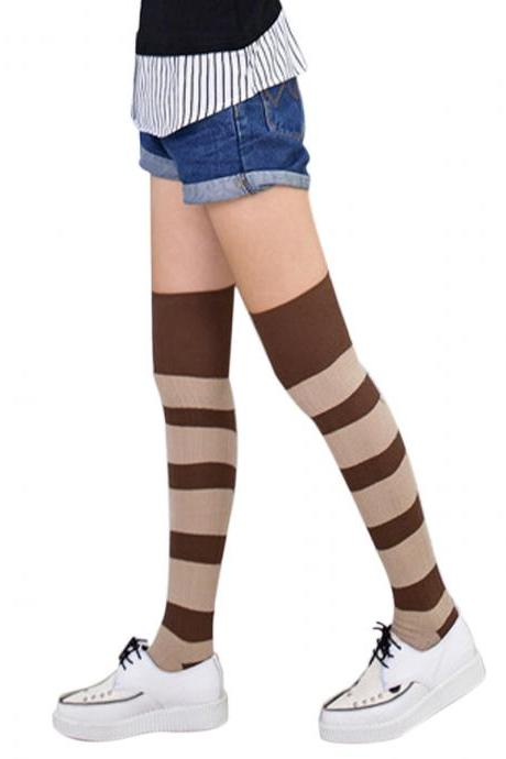 Women's Color Block Soft Warm Over Knee High Socks