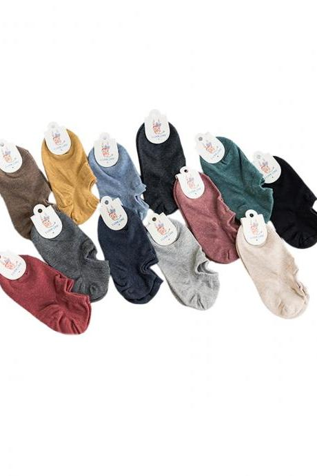 Women's 5 Pairs Solid Breathable Anti-Odor Ankle Socks