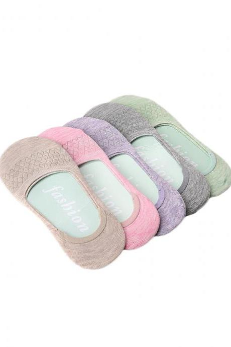 Women's 5 Pairs Candy Color Mesh Breathable Invisible Ankle Socks