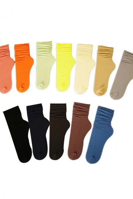 Women's 3 Pairs Sweet Girl Candy Color Crew Socks