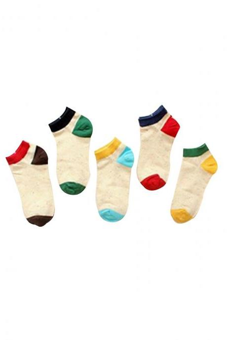Women's 5 Pairs Gift Box Color Block Dot Causal Ankle Socks