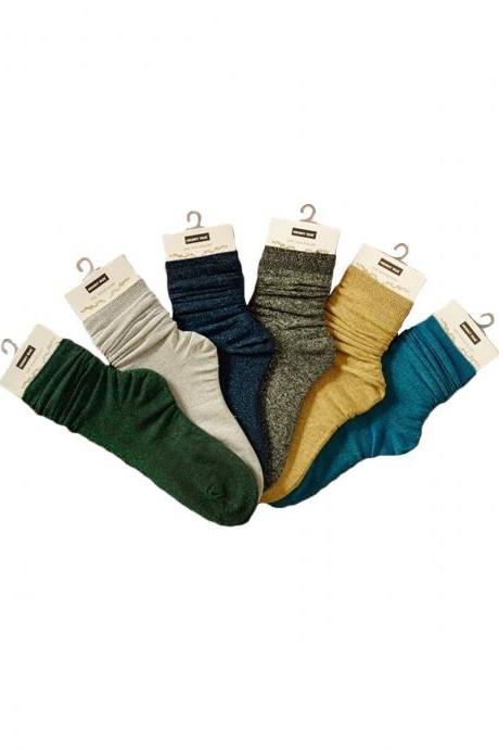 Women's 3 Pairs Mori Girl Candy Color Breathable Crew Socks