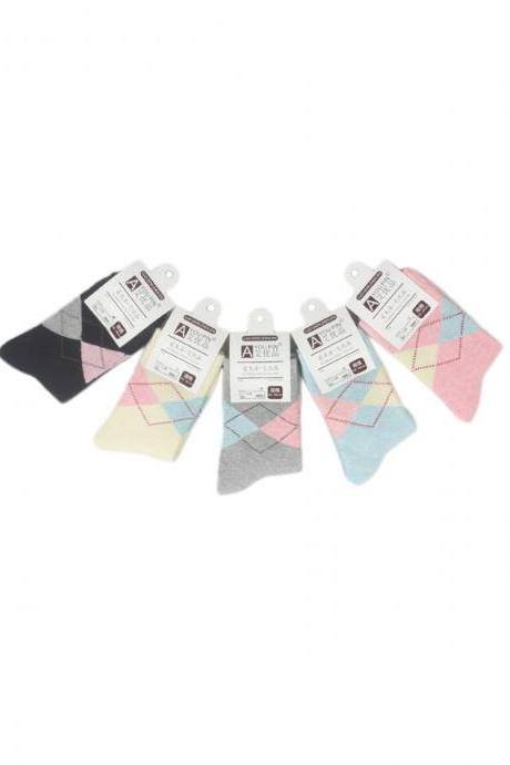 Women's Thicken 5 Pairs Gift Box Argyle Print Socks