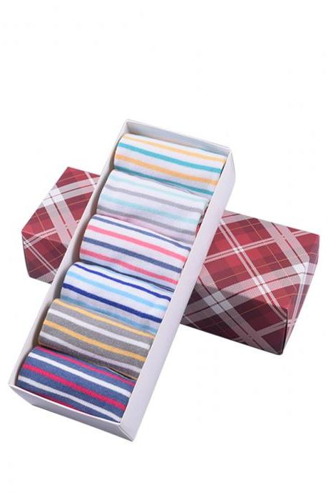 Women's 6 Pairs Gift Box Colorful Striped Anti-Odor Five Toe Socks
