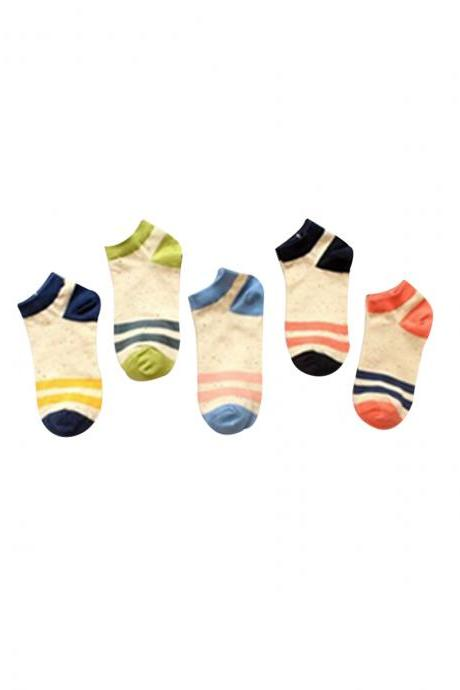 Women's 5 Pairs Gift Box Colorful Striped Causal Ankle Socks