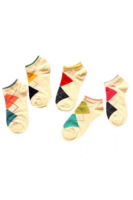 Women's 5 Pairs Gift Box Colorful Argyle Causal Ankle Socks