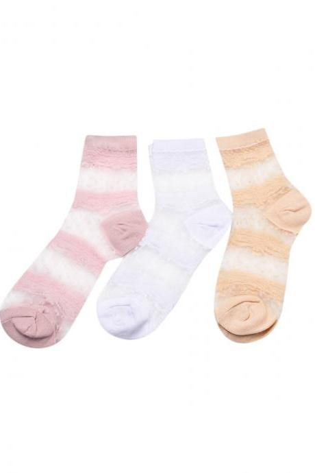 Women's 3 Pairs Stripe Dot Print Ultrathin Socks