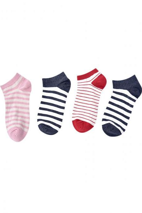 Women's 4 pairs Stripe Breathable Causal Ankle Socks