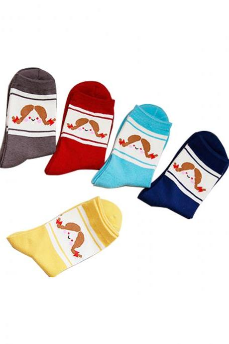 Women's 5 Pairs Cartoon Print Breathable Cotton Socks