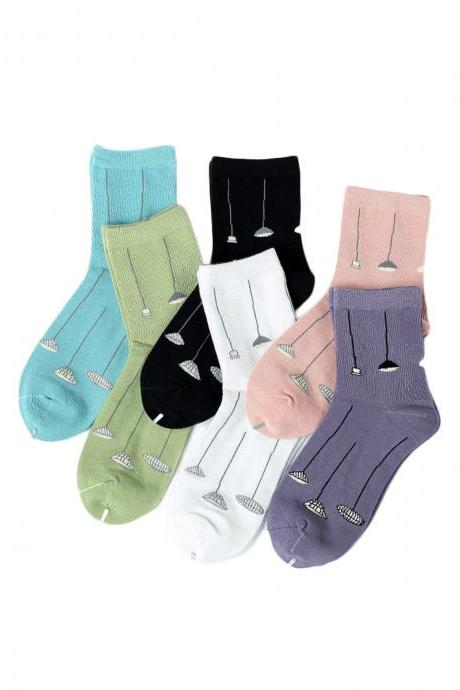 Women's 5 Pairs Fashion Lotus Seedpod Print Causal Cotton Socks