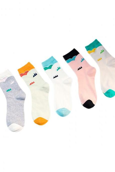 Women's 5 Pairs Graphic Print Color Patchwork Breathable Socks
