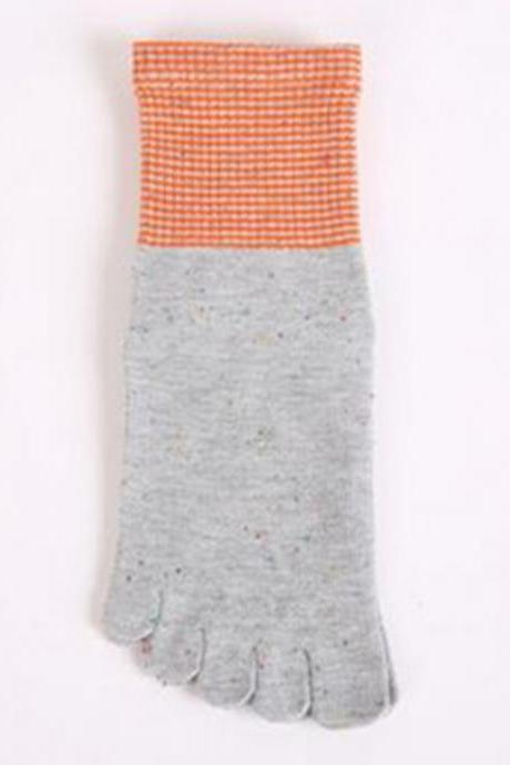 Women's Color Patchwork Thicken Five-Toe Crew Socks