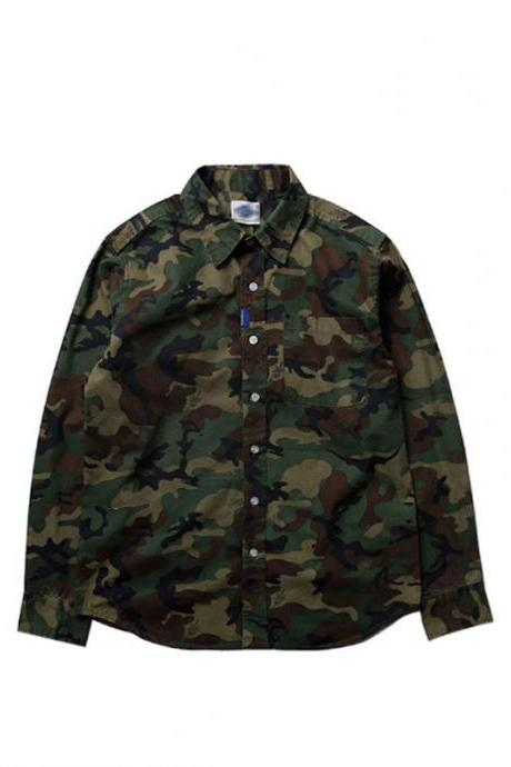 Men's Military-Inspired Camouflage Button Up Shirt