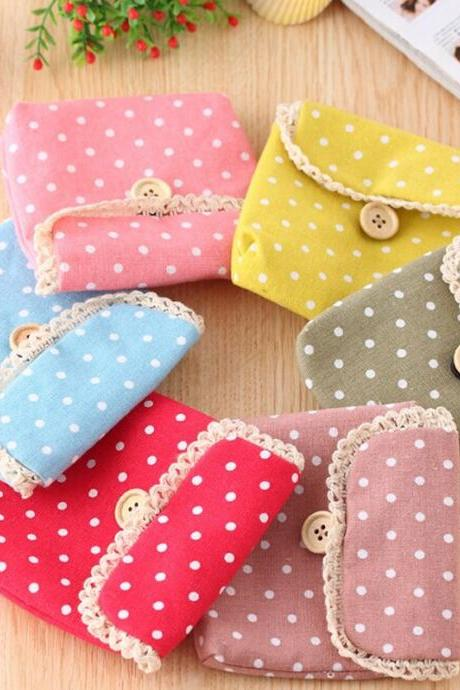 Mini Polka Dot Pattern Cotton Purse for Women