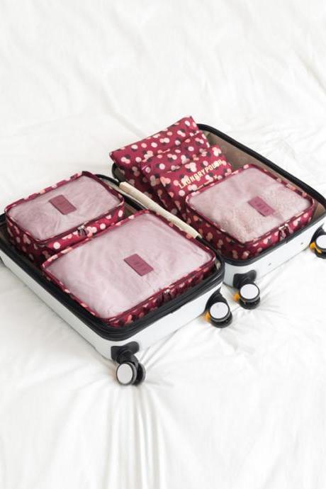 Flower Print Waterproof Storage Bag Six Pieces Set