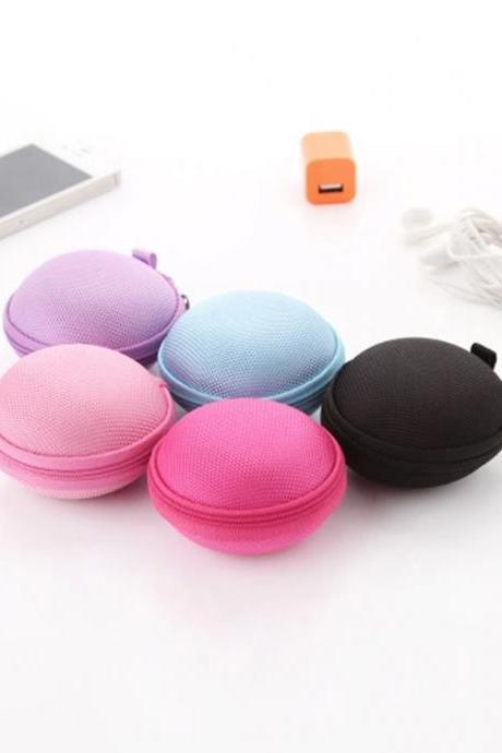 Portable Mini Round Shaped Solid Earphone or Change Storage Organizer
