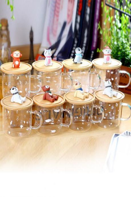 Cute Little Animals Design Glass Mug With Wood Lid