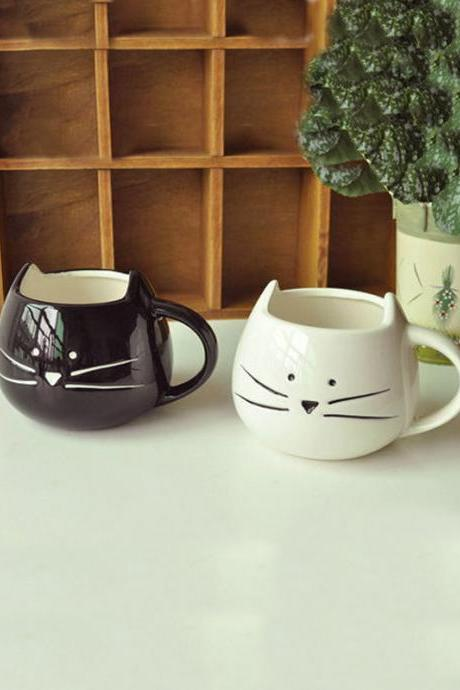 Solid Cartoon Cats Ceramic Mug Cup