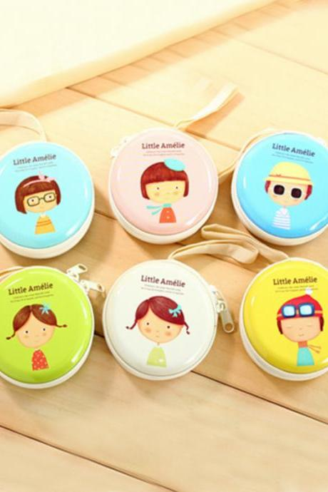 Cute Cartoon Character Pattern Round Zipper Purse