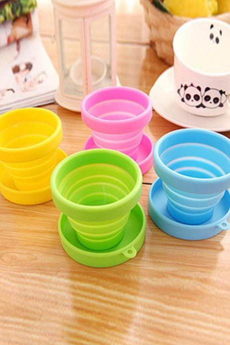 Candy Colored Silicone Foldable Travel Use Water Cup