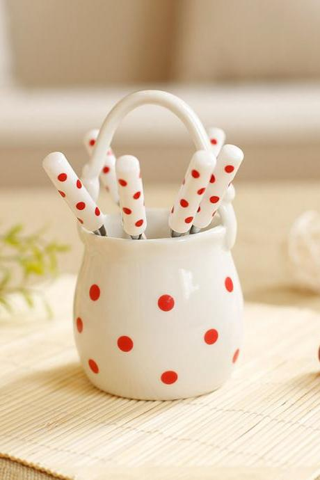 Lovely Red Dots Pattern Stainless Steel Fruit Fork Set