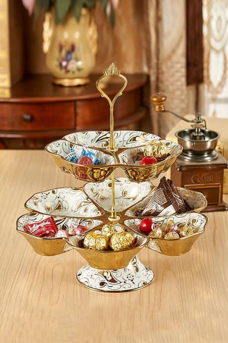 Delicate High Quality Gold Two Layer Candy Plate