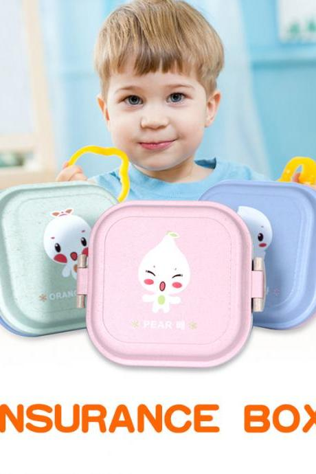 Portable Lunch Box Wheat Straw Made Cartoon Pattern Lunch Box