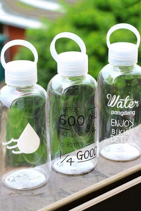 Portable Cup Simple Letters And Number Print Leakproof Bottle