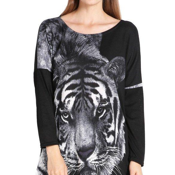 Women's Fashion Long Batwing-sleeve Loose Tiger Pattern Tops Blouse Long T-shirt Dress