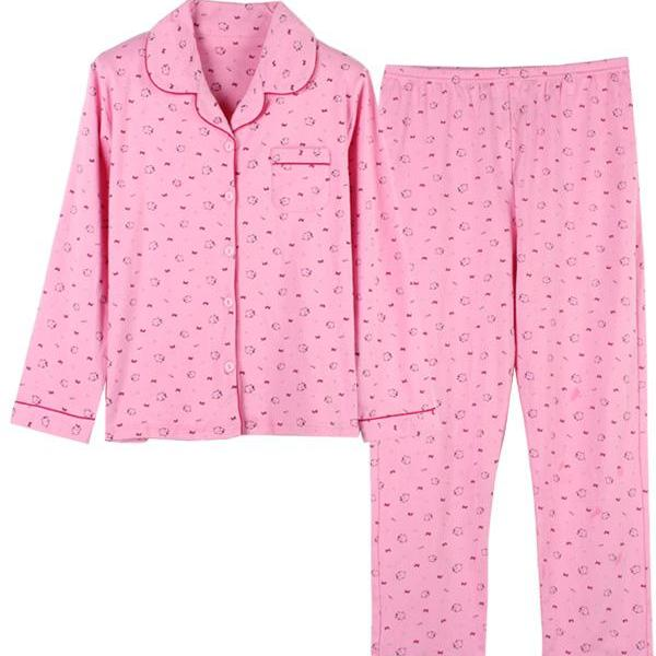 Pink Print Button Up V Nec..
