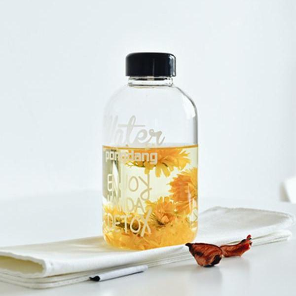 600ml Letter Print Portable Leakproof Glass Cup With Lid